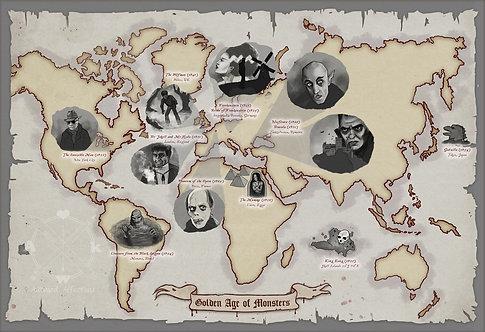 Golden Age of Monsters Map // Classic Horror Art // Monster Mashup