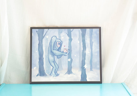Yeti and Bunny // Abominable Snowman Print- Adorable Art Print- 8.5x11in