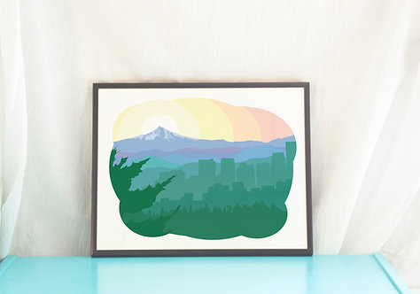 PDX Pride // Portland Illustration // Home Decor // Bridge City Art Print