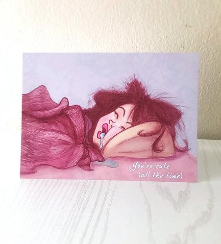 Hot Mess // Greeting Card// Cute Love Card- Awkward Love Card-