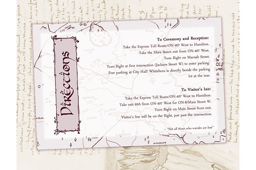 Lord of the Rings Wedding Directions/Info Card //Digital LOTR Invite