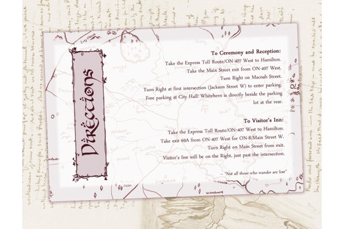 Lord Of The Rings Wedding Directions Info Card Digital Lotr Invite