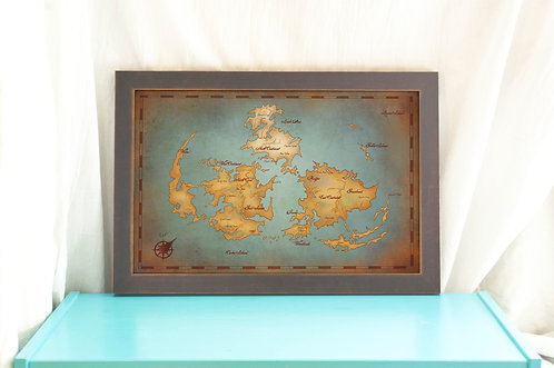 Gaia World Map // Final Fantasy VII Vintage Style Art // Gamer Print