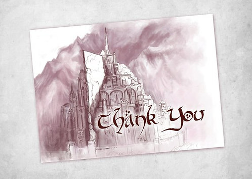 Lord of the Rings Thank You Card // Minas Tirith Card // Instant Download // Dig