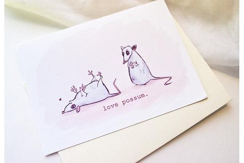 Love Possum // Awkward Affections- Cute Blank Love Card- Love Note