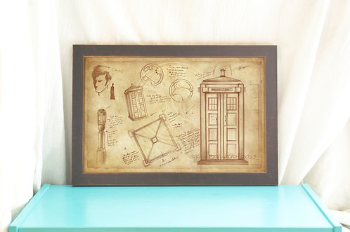 The Tardis & the Doctor- Doctor Who Poster // Vintage Style Artistic Study- Art