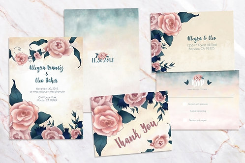 Watercolor Floral Digital Wedding Invitations // Printable Invites //