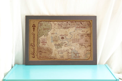 Hyrule Overworld Map // Legend of Zelda/ Antique Style Video Game Map // Gamer