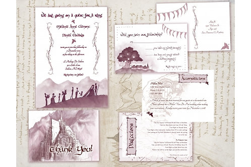 Lord of the Rings Wedding Invitation Suite // Digital Middle Earth Invite