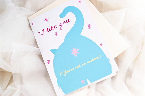 I Like You // Funny Cat Greeting Card/ Blank Humor Card- Cat Butt- Cheeky Humor