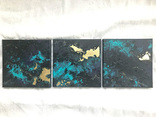 Dusk // Original Abstract Gold Leaf Triptych