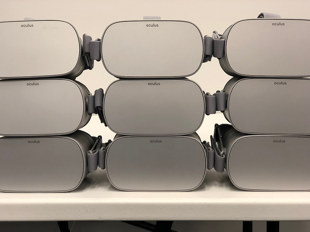 A Stack Of Oculus Go Headsets