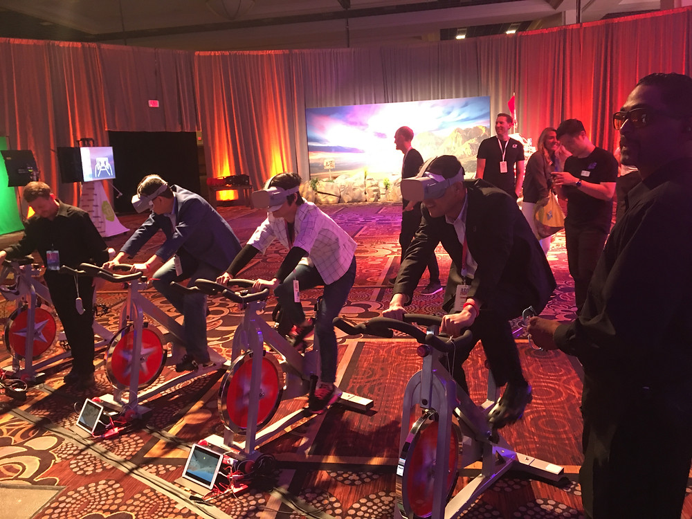 Virtual Reality Biking At A Corporate Event