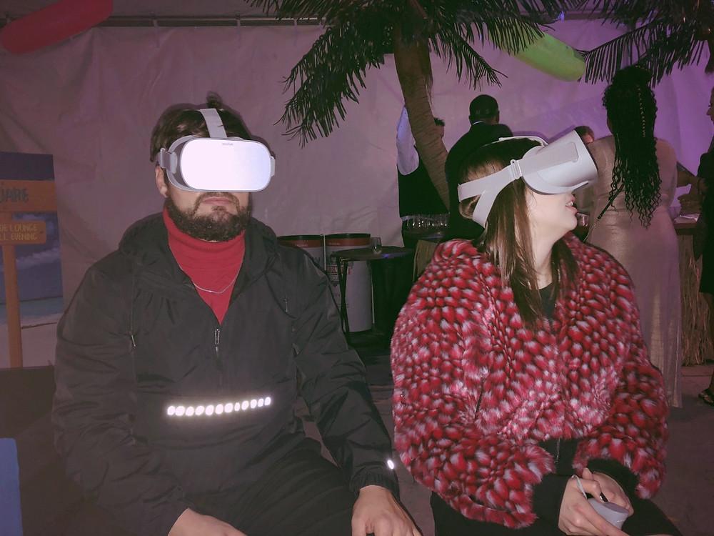 Couple Enjoying A Miami Virtual Reality Booth