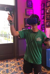 Kid Playing Virtual Reality At A Bar Mitzvah