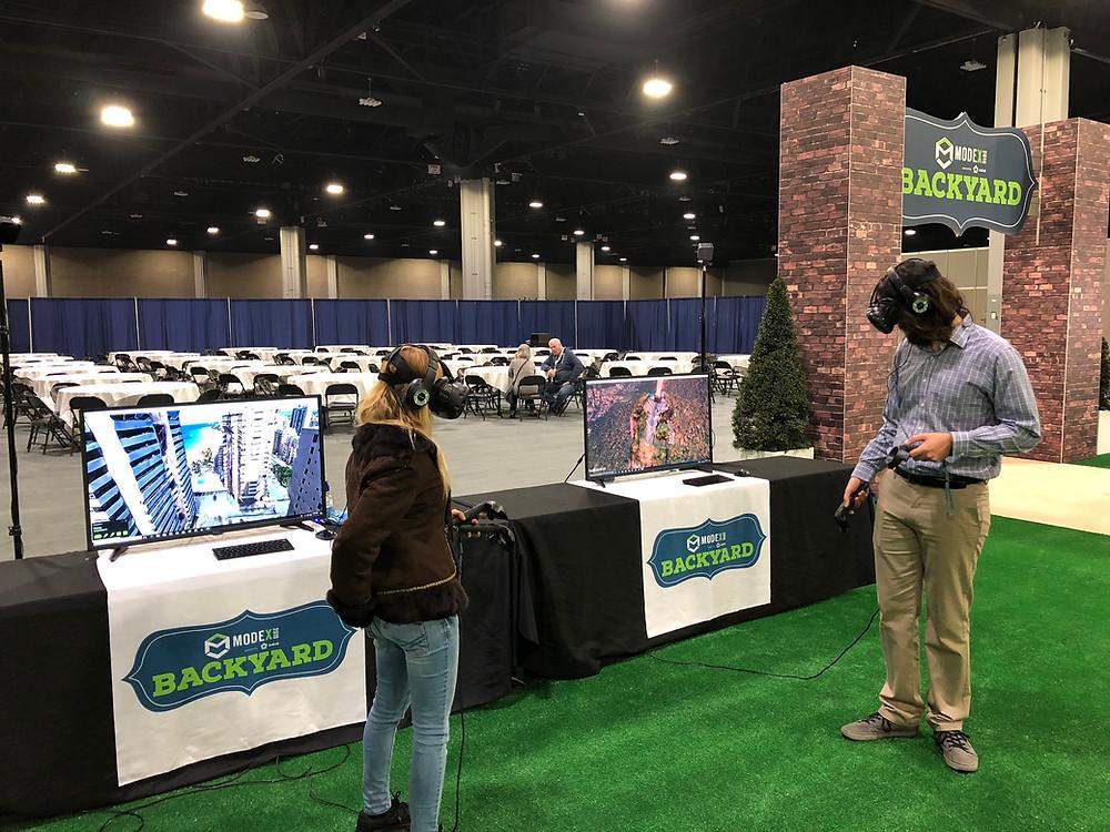 A Man Testing The Virtual Reality Rental