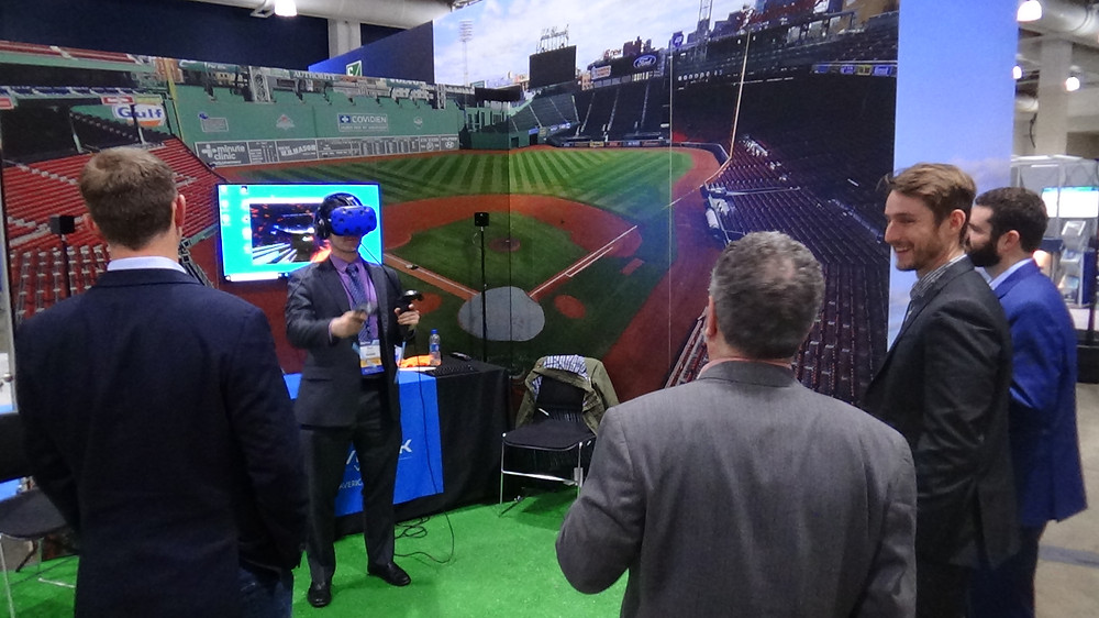 A Sports Themed Virtual Reality (VR) Booth At A Corporate Event