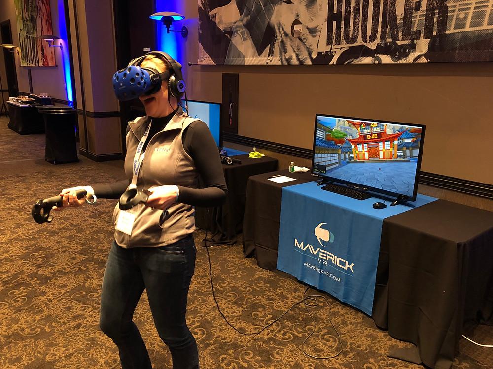 Woman wearing VR Equipment