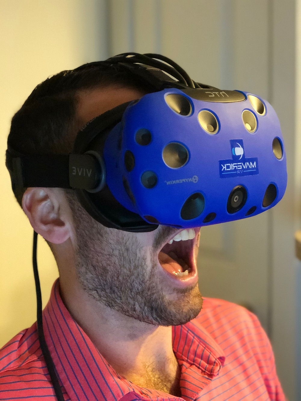 Man wearing HTC Vive Headset