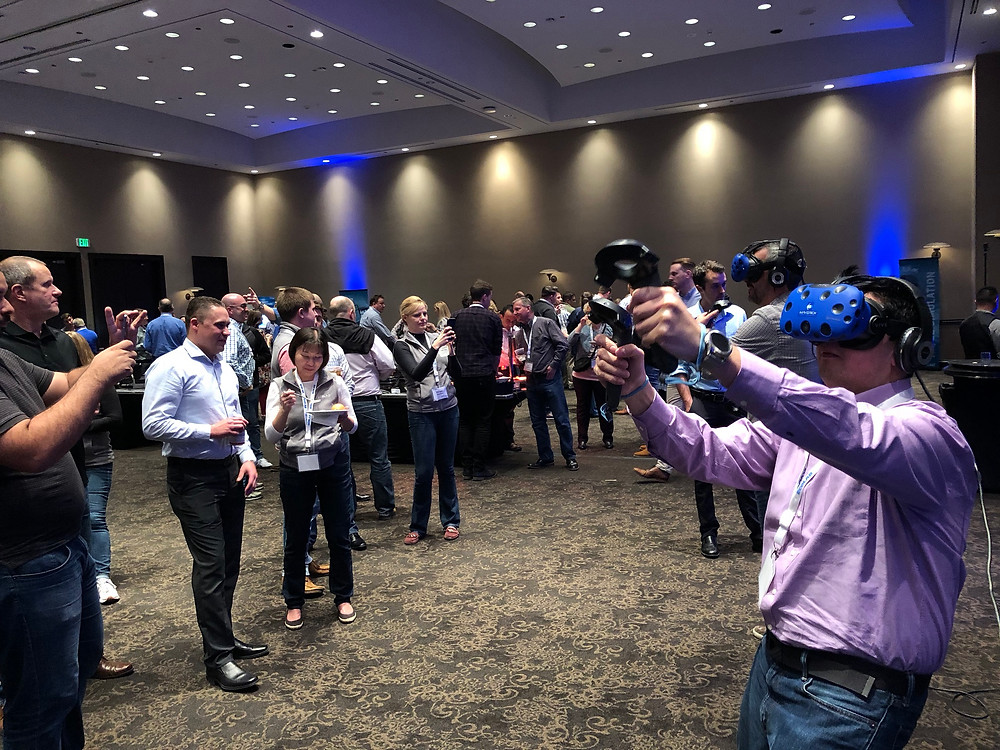Virtual Reality Fun At An Event In A Large Conference Space