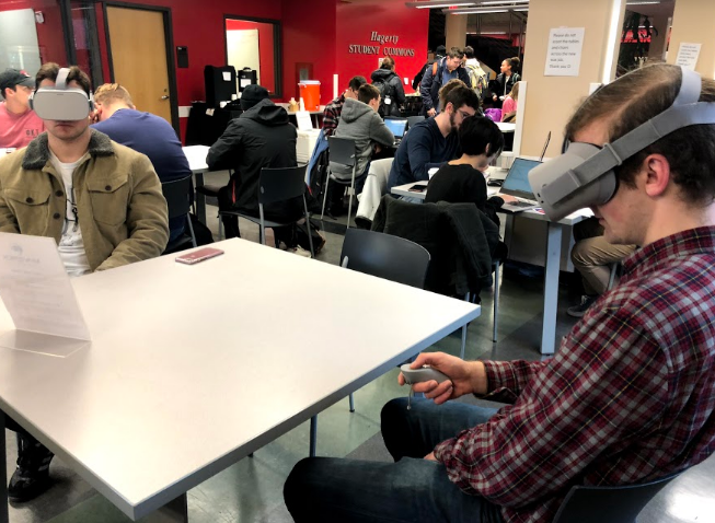 Two Young Men Attend A Meeting In Virtual Reality