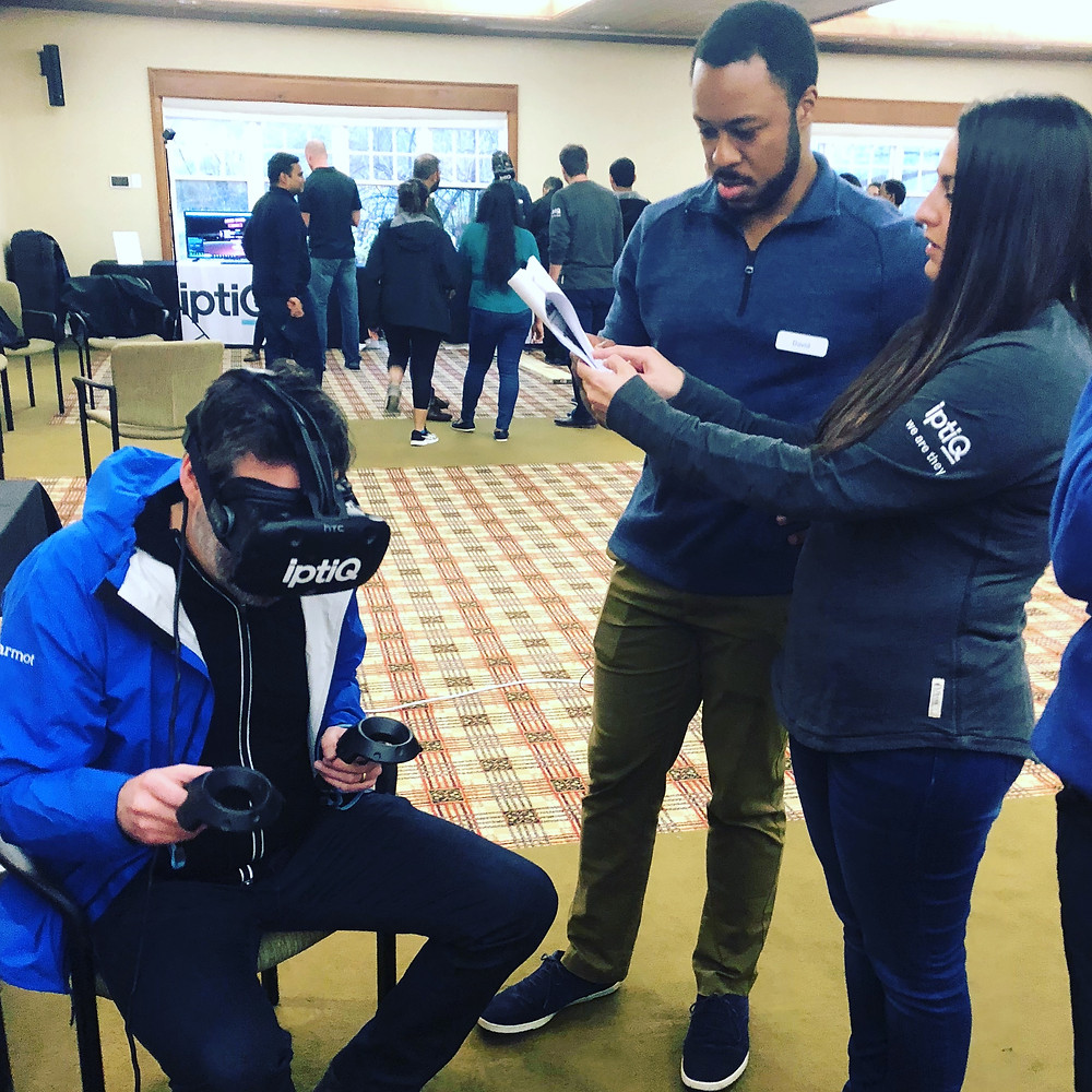 3 people using Vr for Corporate Team Building
