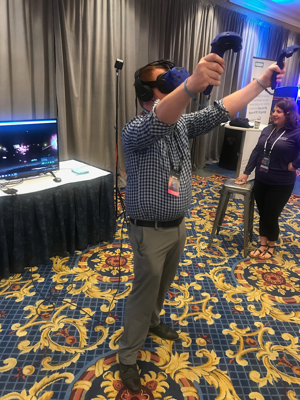 Virtual Reality Booth at a Corporate Conference Adds Some Fun to the Event
