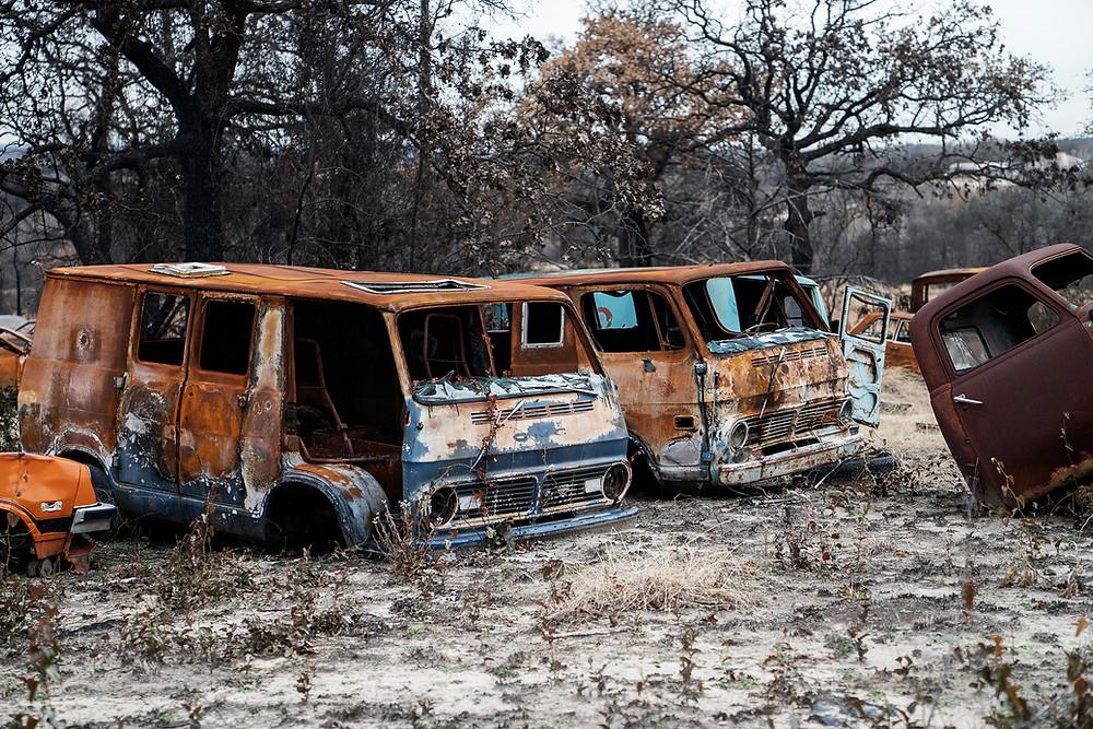 Burned classic vans
