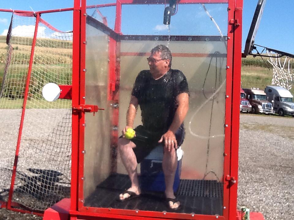 Jamie in dunk tank