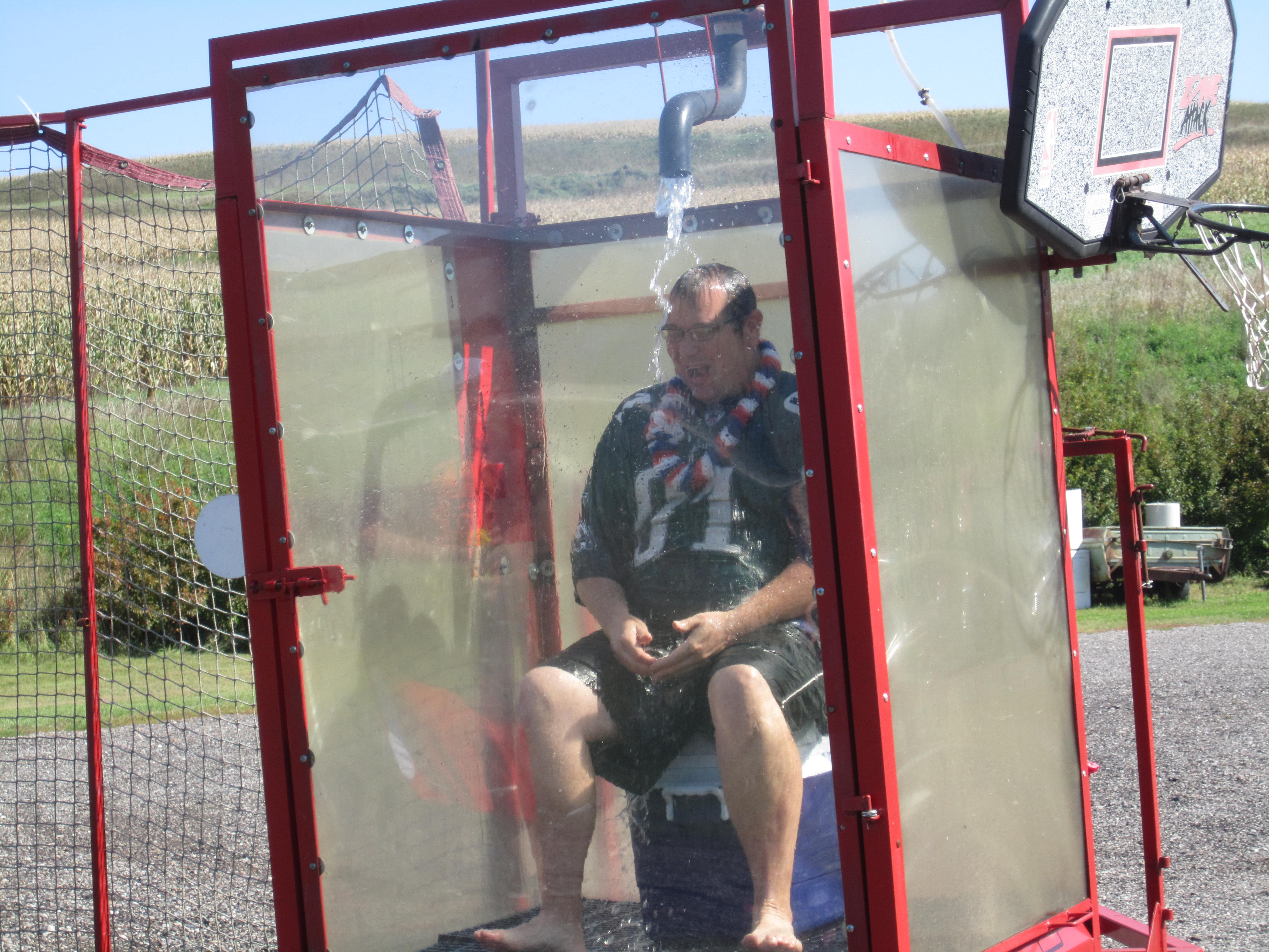 Justin in dunk tank