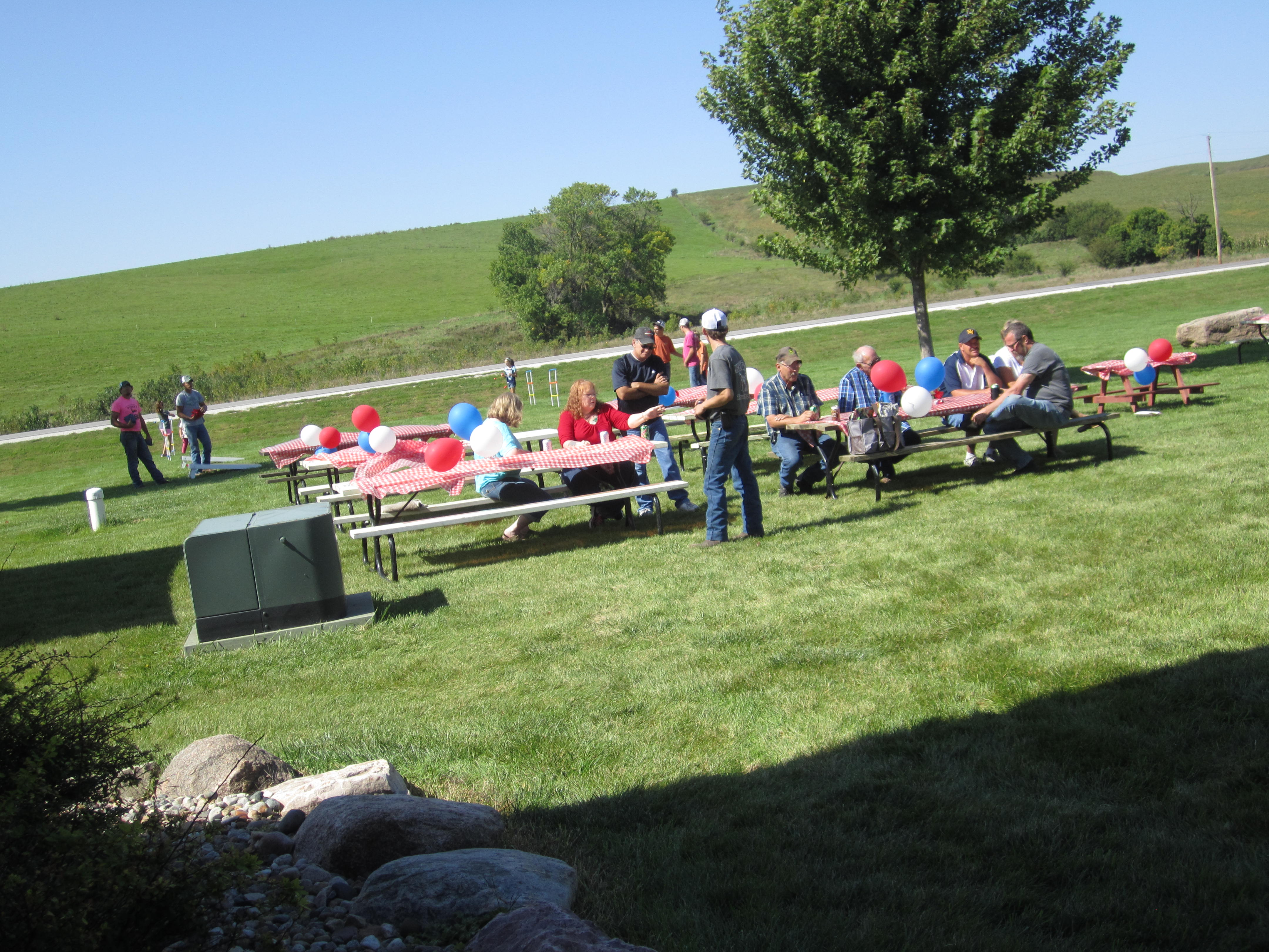 Drivers enjoying picnic