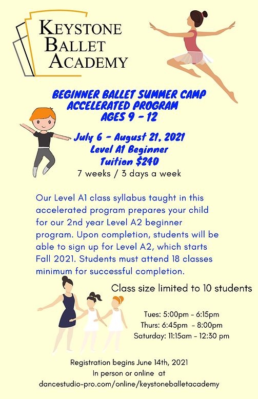 Beginner Summer Ballet Accerlated Ages 9