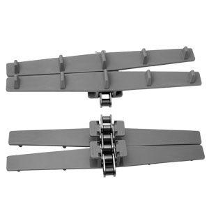 Sidböjlig rullkedja med påmonterade bandkedjeplattor av acetalplast