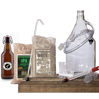 PACK Kit double beer 2x5l & bottles - WHITE-IPA Amber
