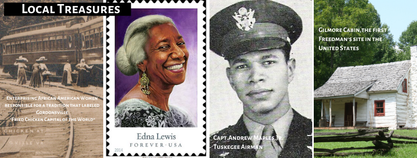 4 pictures, chicken vendors serving the trains, Edna Lewis stamp photo, captain Andrew Maples, Gilmore cabin historic site