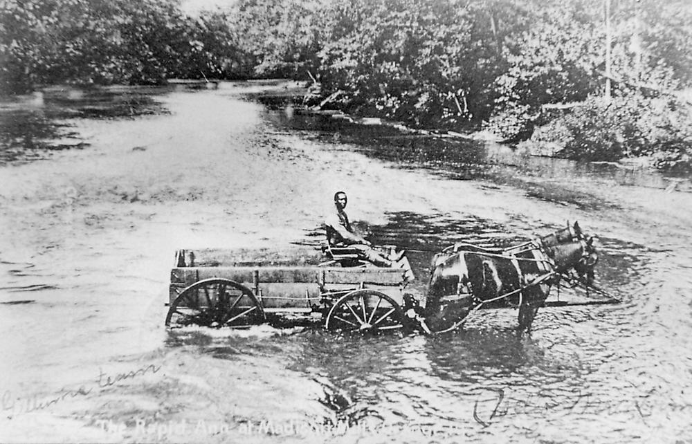 Horse drawn wagon crossing the Rapidan River in 1905