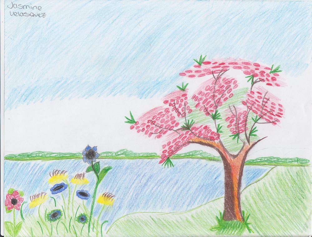 Jasmine Velasquez draws a spring picture celebrate the new season