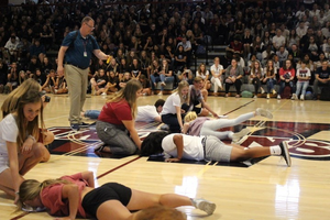 Students patricipate in the Nosedive game in the Pep Rally.
