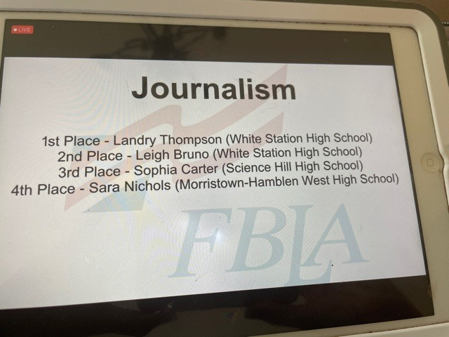 Congratulations to Sara Nichols for placing fourth in Journalism!