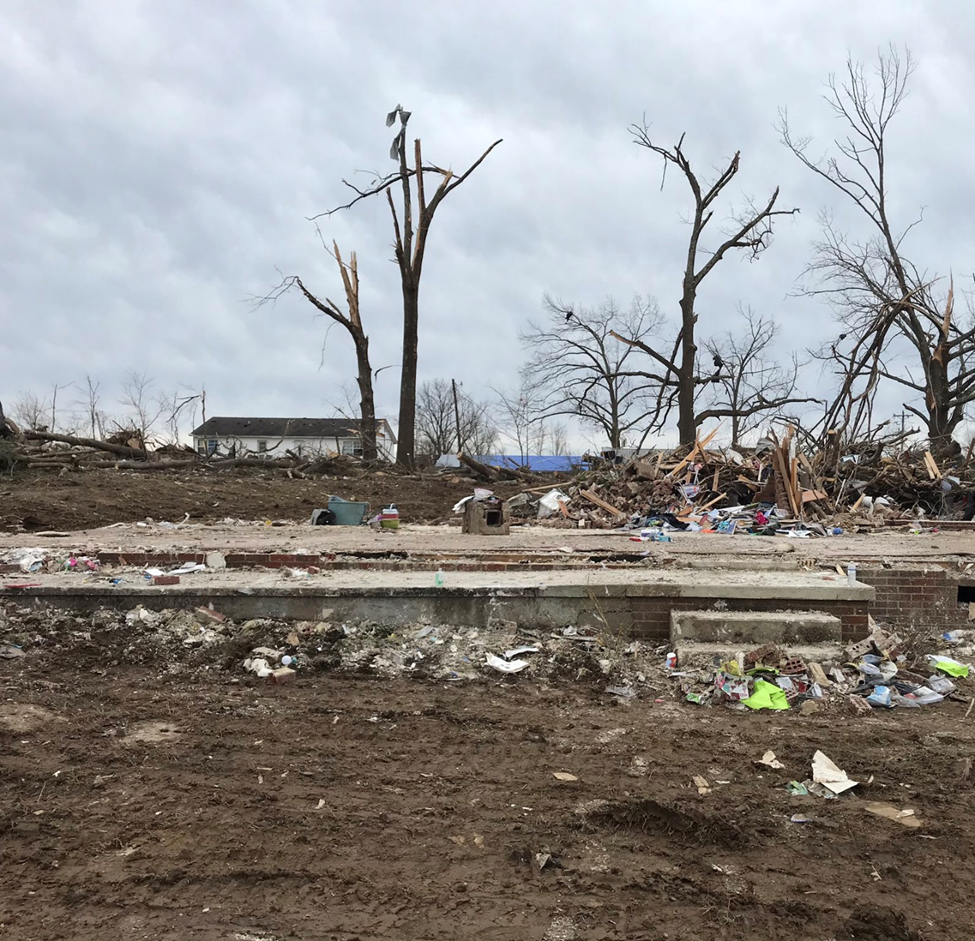 Home destroyed by tornado in Nashville, TN.