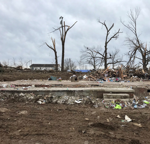 Home destroyed by tornado in Nashville, TN.