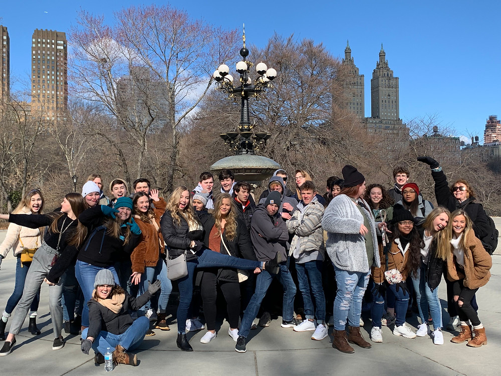 The West-High choir strikes a pose at the fountain from Friends in Central Park. Picture from Shawn Salley, trip chaperone.