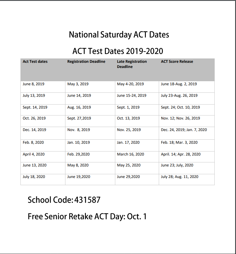 Saturday ACT dates