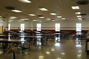 Before the renovations in the cafe.