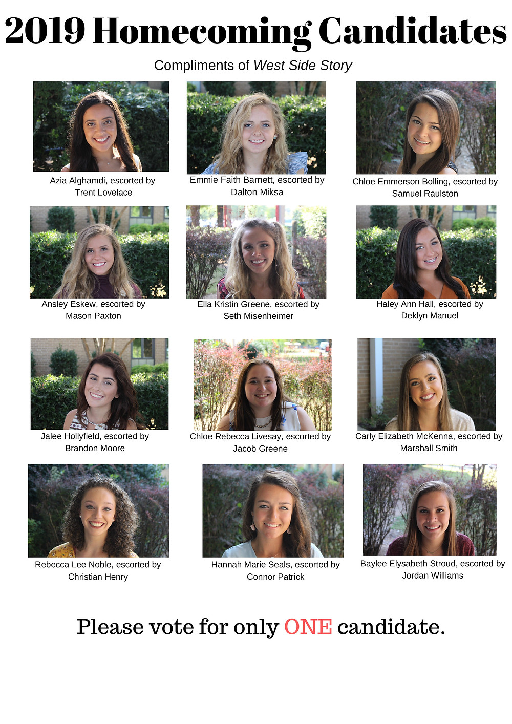 Students will Vote for One of these 2019 Fall Homecoming Candidates next week 9/16-9/20 in TNN