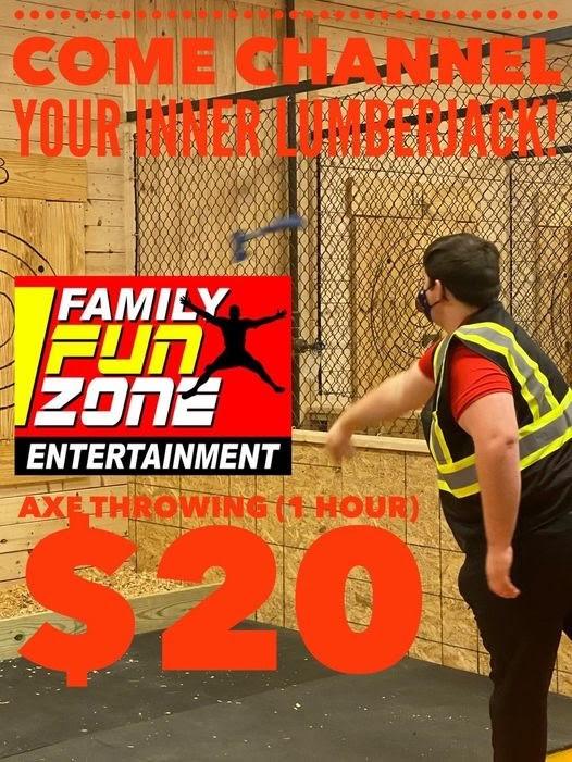 Axe Throwing Advertisement, Courtesy of Family Fun Zone