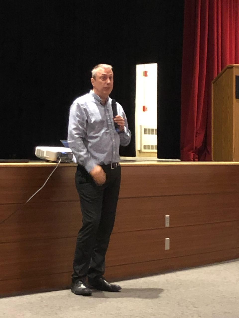 Michel Segers speaking to CTE students