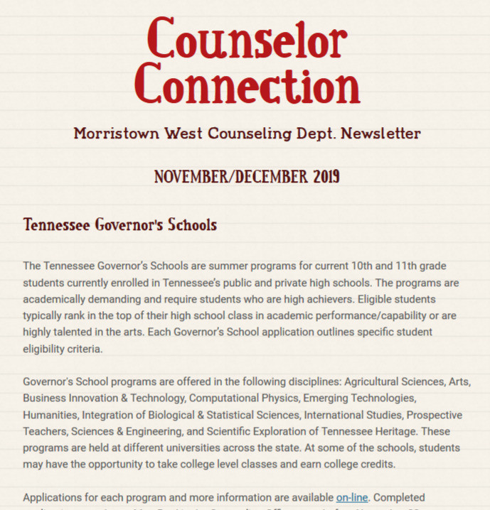 November, December Counselors Connection