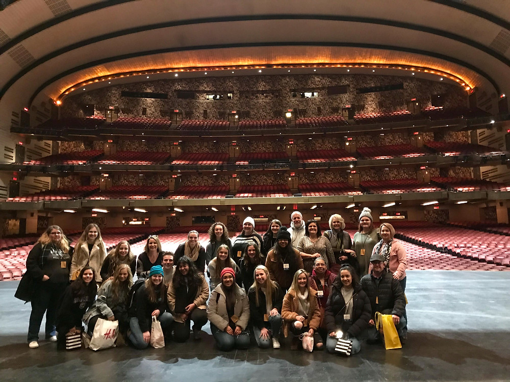 Members of the choir explore the Radio City stage- a special event that does not happen on every tour. Photo from Shawn Salley, trip chaperone.