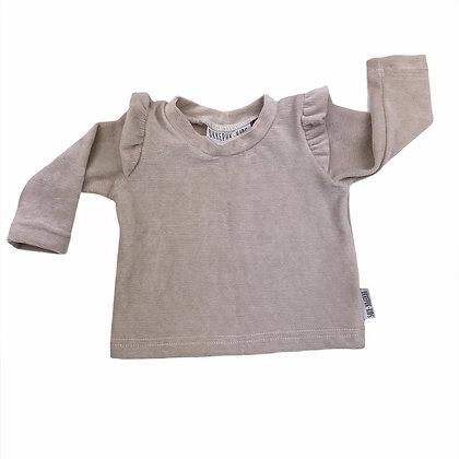 Sweater ruffle rib beige